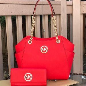 Authentic Michael kors large chain handbag&wallet
